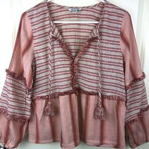 American Eagle Outfitter Pink Rose Boho Blouse